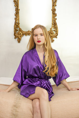 be lorette robe in purple satin mother of the bride