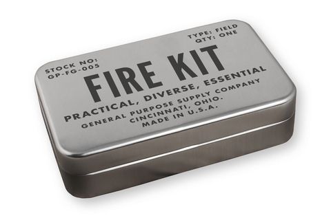 metal tin for storing a bushcraft flint and steel