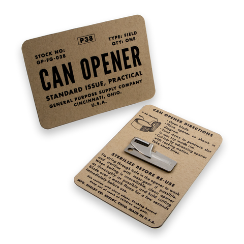 p38 can opener for survival kit on instructional card
