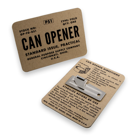 p51 can opener for survival kit on instructional card