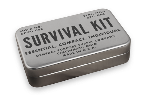 metal case that says survival kit by field kits