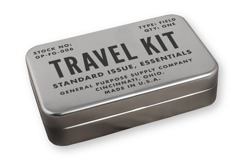 small metal travel kit made by field kits for the world traveler