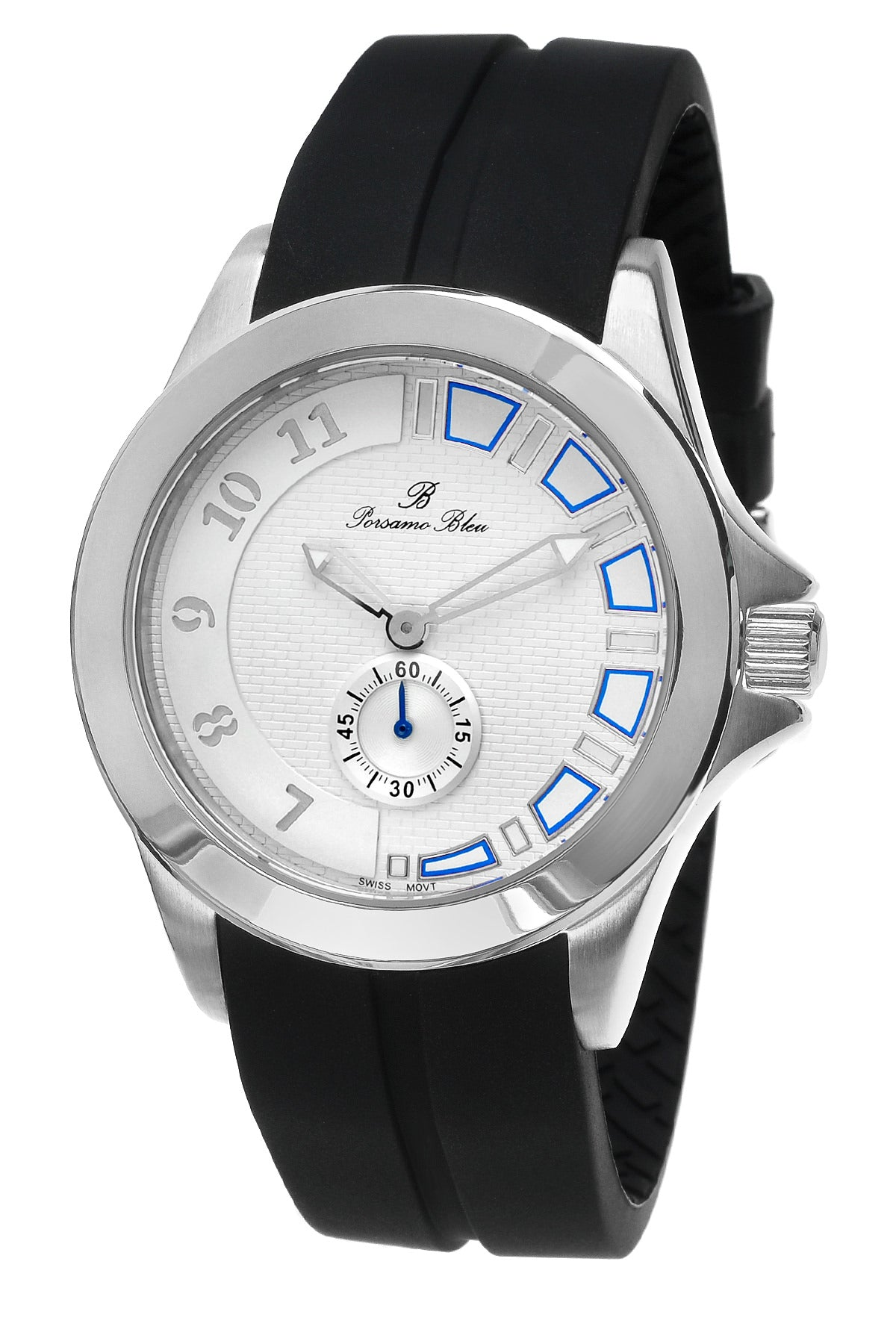 Porsamo Bleu Soho luxury men's watch, silicone strap, silver, black 044ASOR
