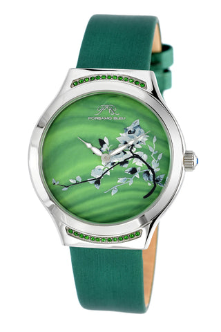 Porsmao Bleu Carmen luxury women's watch, satin covered genuine leather band, silver, green 992ACAL