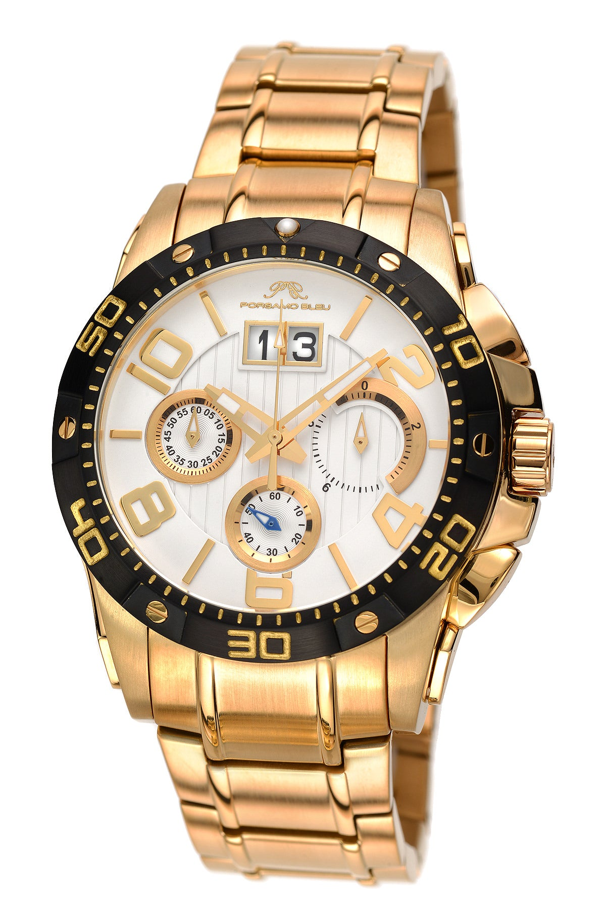 Porsamo Bleu Francoise luxury chronograph men's stainless steel watch, gold, black, white 243BFRS