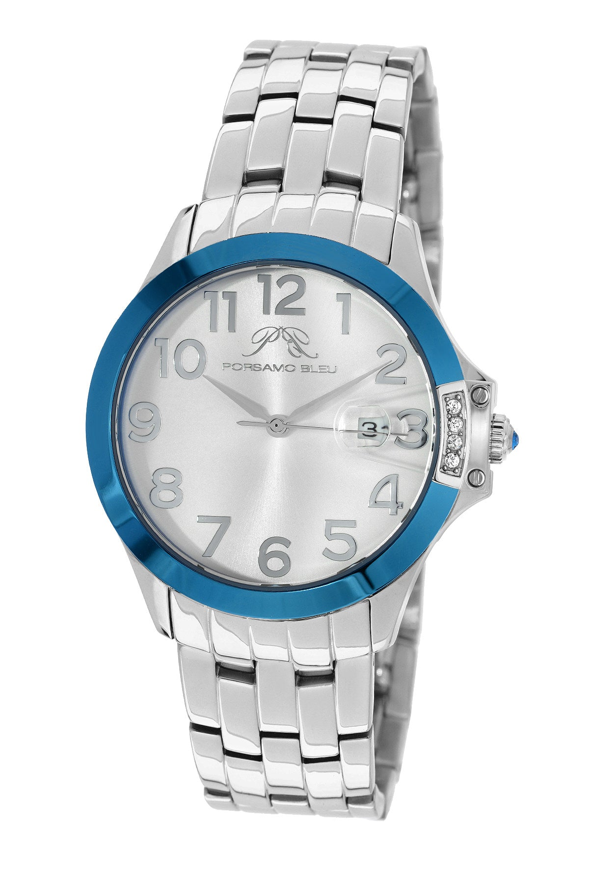 Porsamo Bleu Olivia luxury women's stainless steel watch, silver, blue 982AOLS