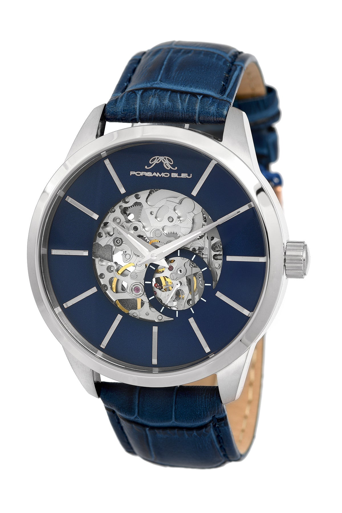 Porsamo Bleu Cassius luxury automatic men's watch, genuine leather band, silver, blue 802ACAL