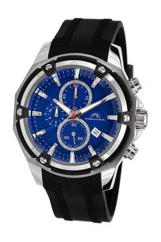 Porsamo Bleu Stavros luxury chronograph men's watch, silicone strap, silver, black, blue 483ASTR