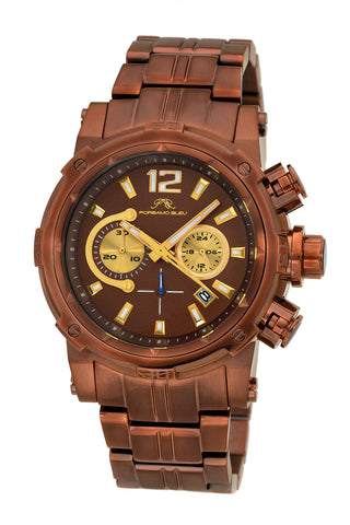 Porsamo Bleu Antonio luxury chronograph men's stainless steel watch, brown 612BANS