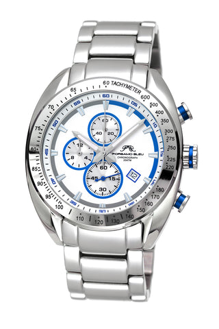 Porsamo Bleu Julien luxury  chronograph men's stainless steel watch, silver, white, blue 271BJUS