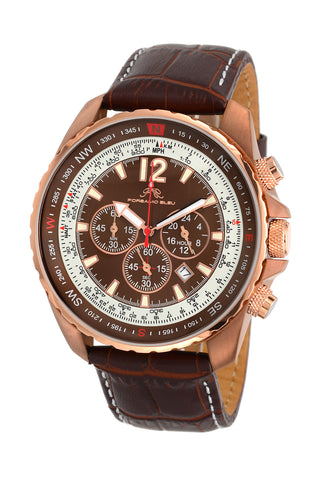 Porsamo Bleu Martin luxury  chronograph men's watch, genuine leather band, brown 351CMAL