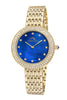 Porsamo Bleu Serena luxury women's crystal set bezel stainless steel watch, gold, blue 1042BSES