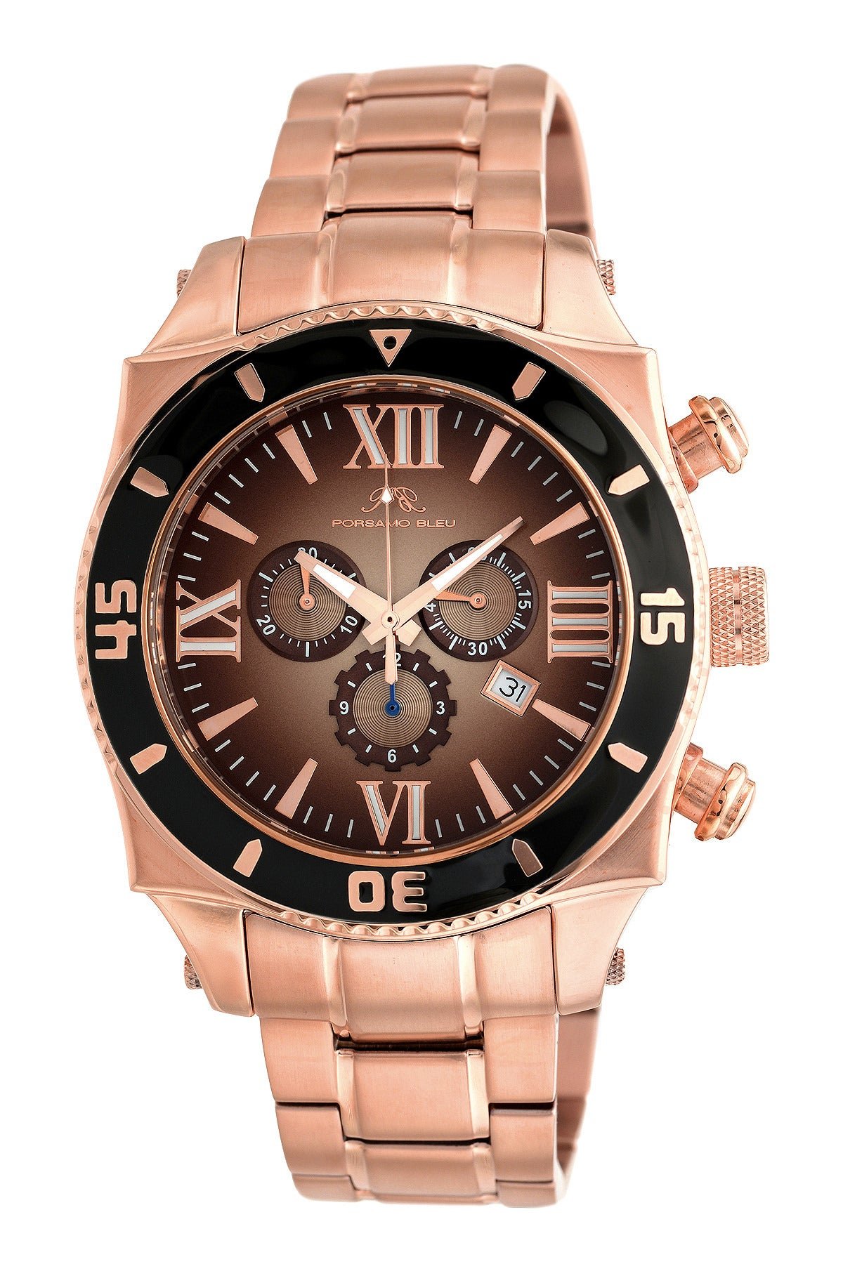 Porsamo Bleu Milan G luxury chronograph men's stainless steel watch, rose, black 071DMIS