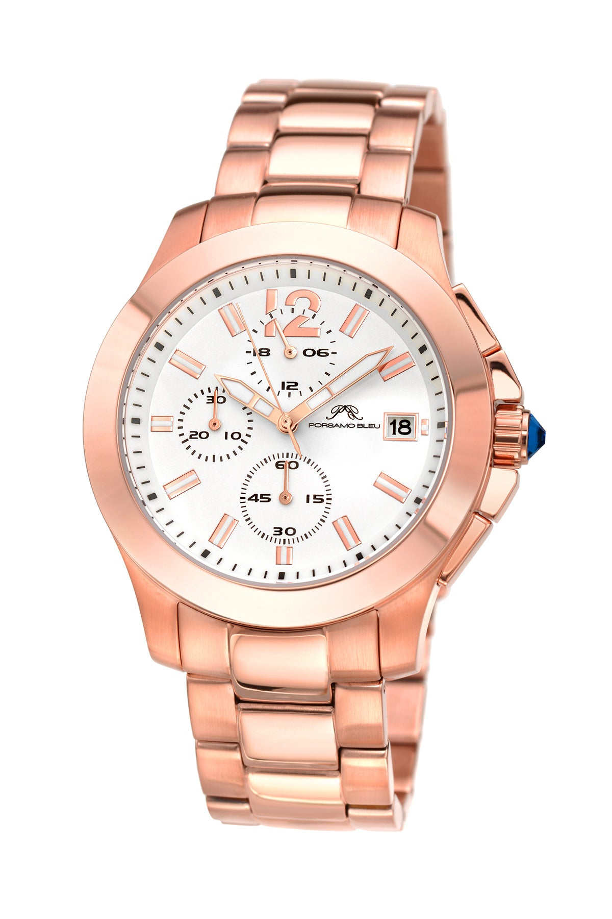 Porsamo Bleu Harper luxury chronograph women's stainless steel watch, rose, white 521CHAS