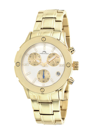 Porsamo Bleu Charlotte luxury chronograph women's stainless steel watch, champagne 381DCHS