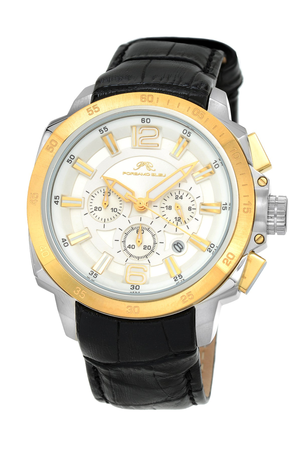 Porsamo Bleu Olivier luxury chronograph men's watch, genuine leather band, gold, black 322COLL