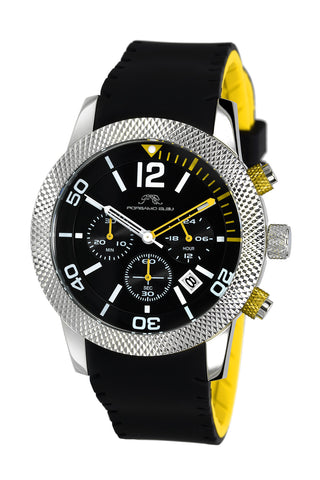 Porsamo Bleu Cameron luxury chronograph women's watch, silicone strap, silver, black, yellow 391CCAR