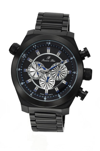 Porsamo Bleu Sydney luxury men's stainless steel watch, black 163CSYS