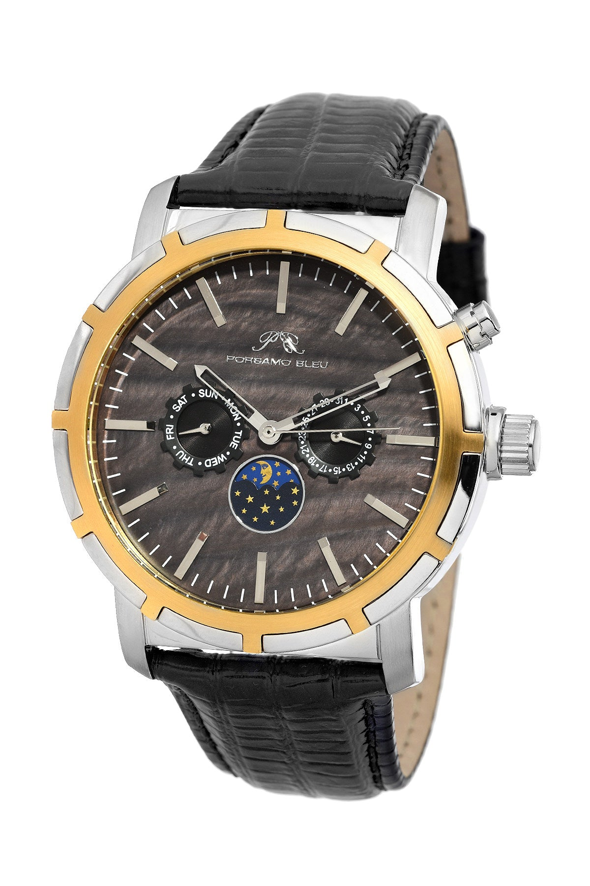 Porsamo Bleu NYC Moon luxury men's watch, genuine leather band, gold, silver, black 057DNYL