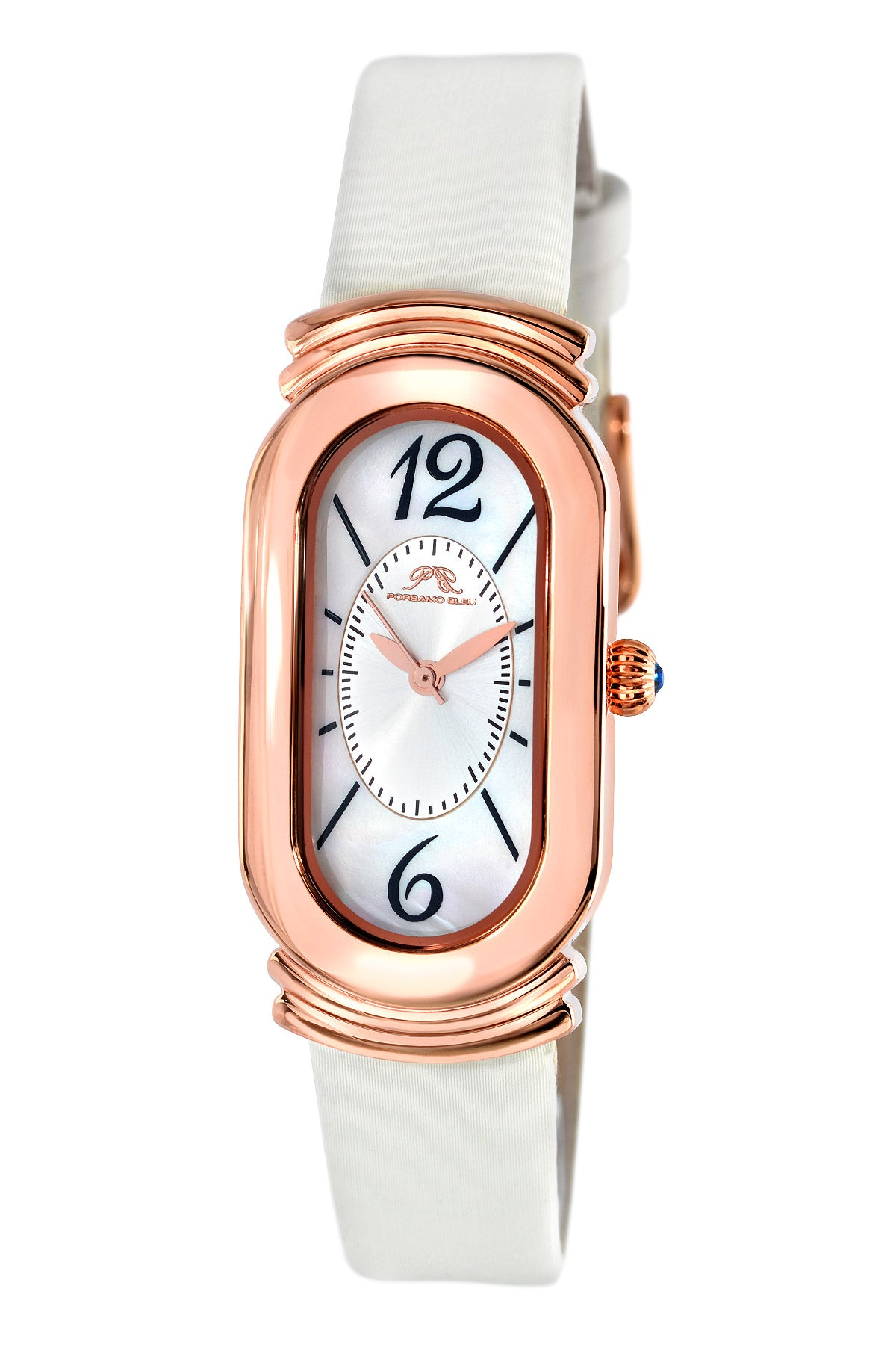 Porsamo Bleu Camille luxury women's silk covered leather watch, rose, white 972ACAL