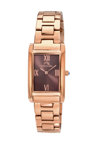 Porsamo Bleu Karla luxury women's stainless steel watch, interchangeable bands, rose, brown 962CKAS