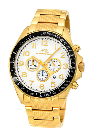 Porsamo Bleu Wolfgang luxury  chronograph men's stainless steel watch, gold 572BWOS
