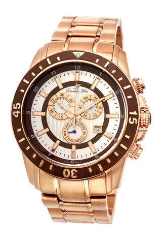 Porsamo Bleu Grand Prix G luxury chronograph men's stainless steel watch, rose, brown 081CGPS