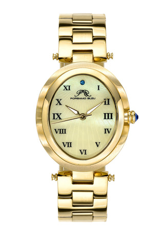 Porsamo Bleu South Sea Oval luxury women's stainless steel watch, gold 105CSSO
