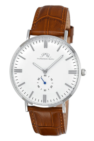 Porsamo Bleu Henry luxury men's watch, genuine leather band, silver, brown, white 841CHEL