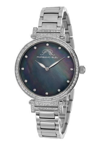 Porsamo Bleu Chantal luxury topaz women's stainless steel watch, silver, black 672ACHS