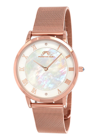 Porsamo Bleu Nina luxury diamond women's watch, interchangeable bands, rose, white, beige 861CNIS
