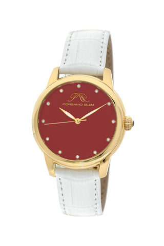Porsamo Bleu Gemma luxury diamond women's watch, genuine leather band, gold, white, coral 732DGEL