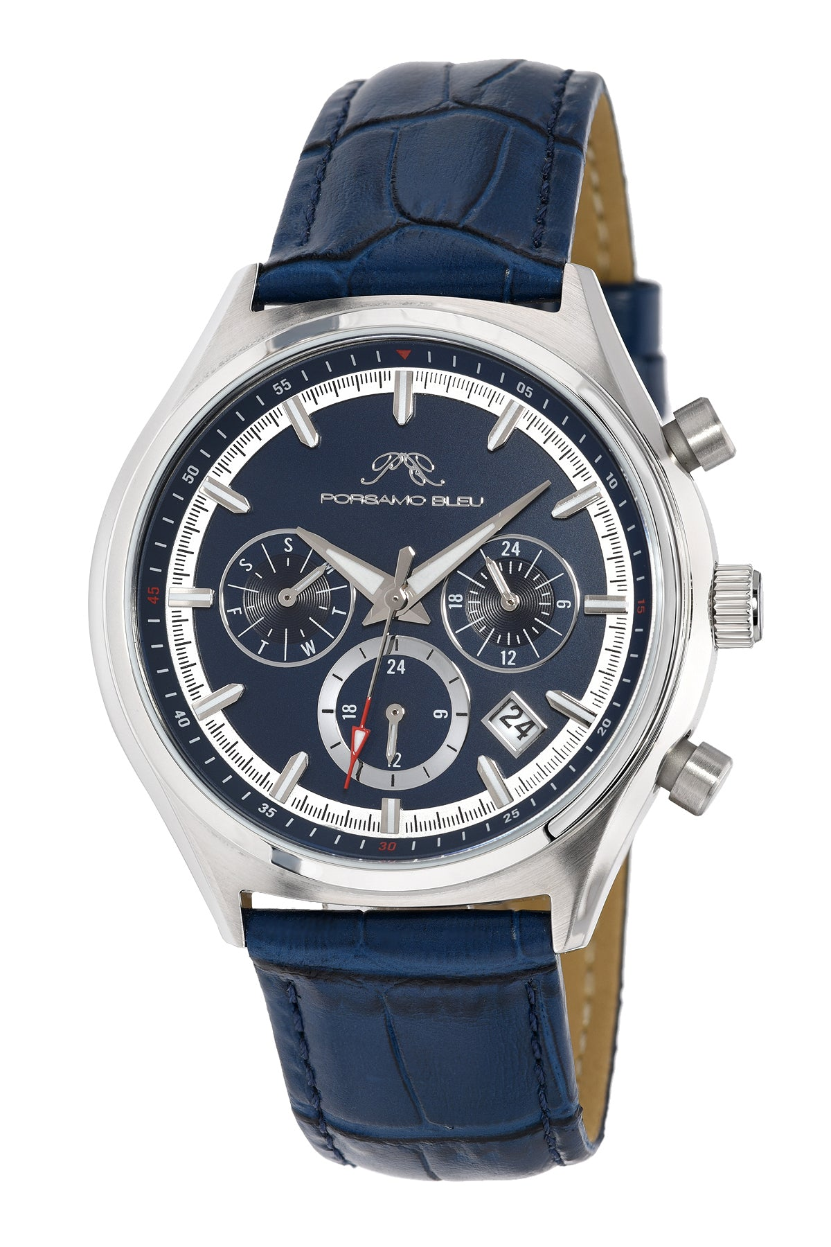 Porsamo Bleu Dylan luxury men's watch, genuine leather band, blue 871CDYL