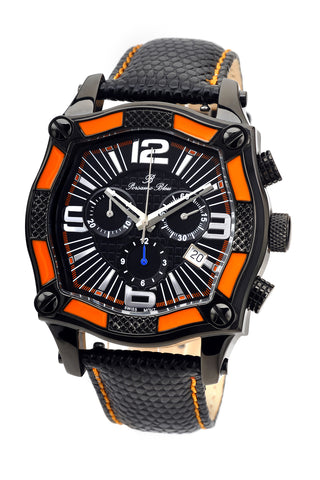 Porsamo Bleu Sao Paulo chronograph men's watch, genuine leather band, black, orange 021BSPL