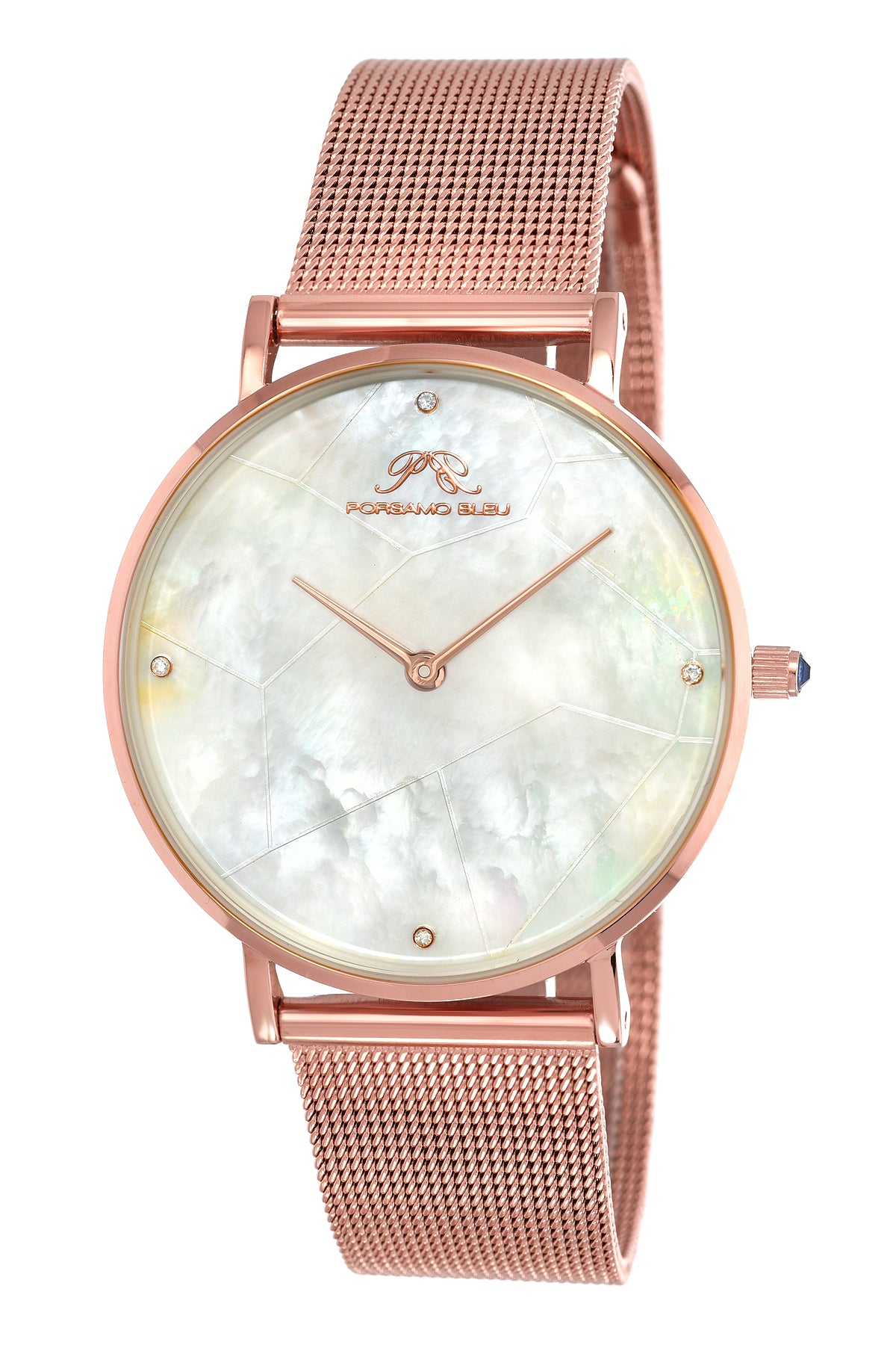 Porsamo Bleu Paloma luxury diamond women's watch, interchangeable bands, rose, white, grey 851CPAS
