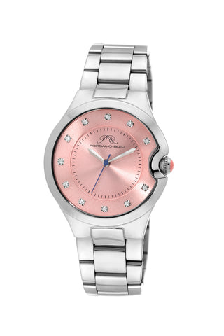 Porsamo Bleu Emilia luxury diamond women's stainless steel watch, silver, peach 822AEMS