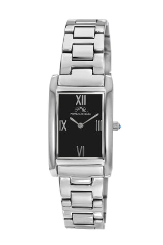 Porsamo Bleu Karla luxury women's stainless steel watch, interchangeable bands, silver, black 962AKAS