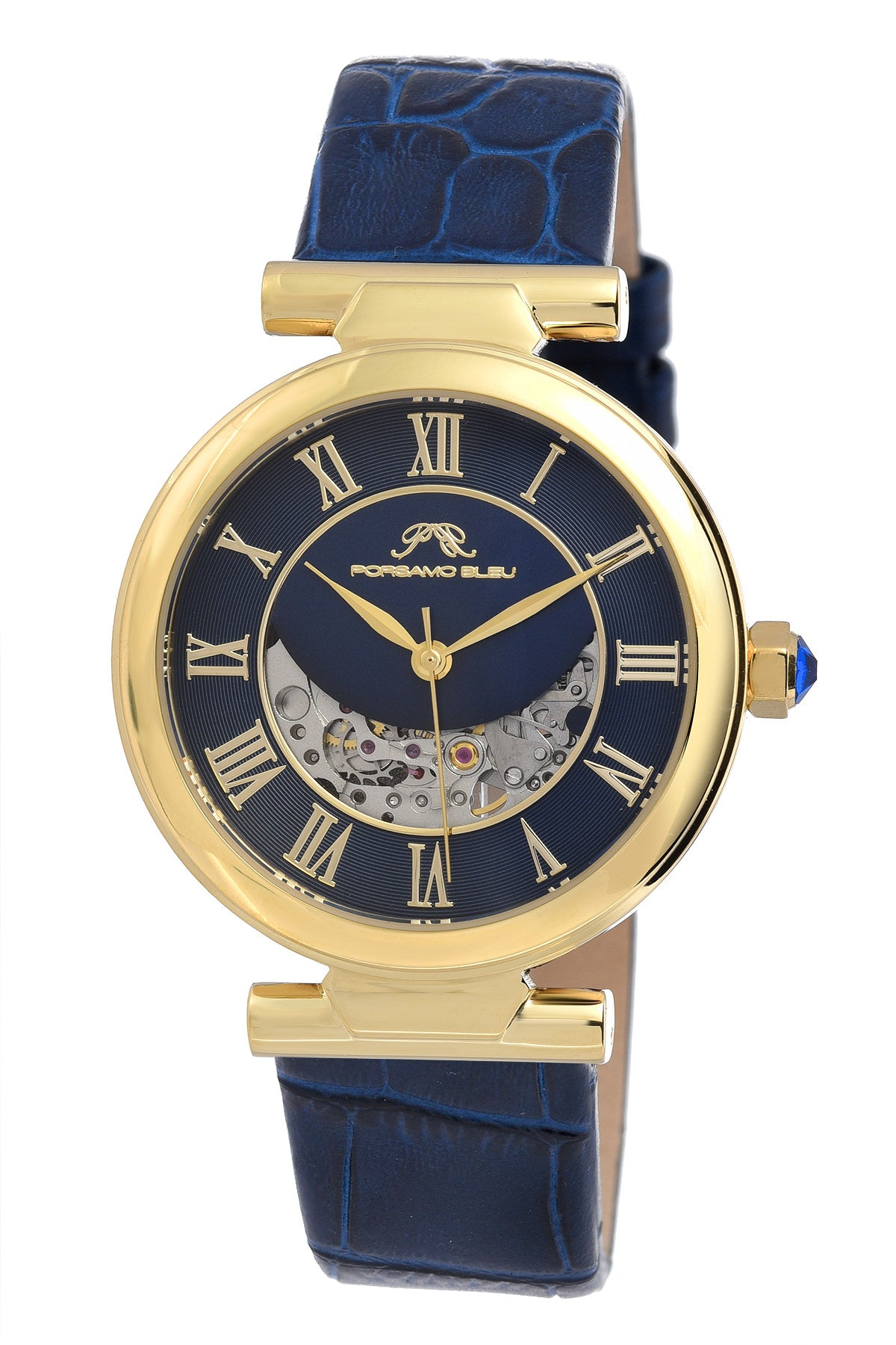 Porsamo Bleu Coco luxury automatic women's watch, genuine leather band, gold, blue 812BCOL