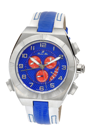 Porsamo Bleu Ibiza luxury chronograph men's watch, genuine leather band, silver blue, white 122BIBL