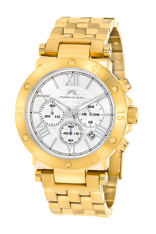 Porsamo Bleu Sasha luxury chronograph men's stainless steel watch, gold, white 441BSAS