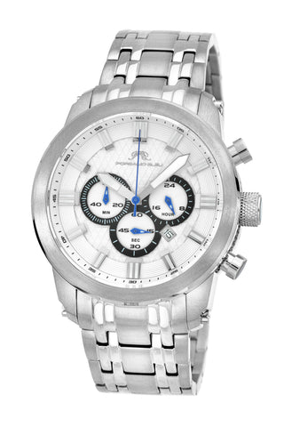 Porsamo Bleu Demetrios luxury chronograph men's stainless steel watch, silver 601ADES
