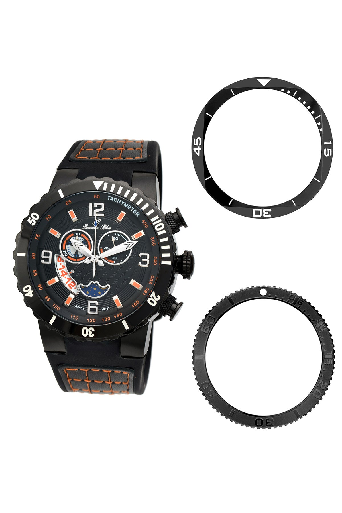 Porsamo Bleu Las Vegas luxury men's watch, silicone strap, interchangeable bezels, black 114DLVR