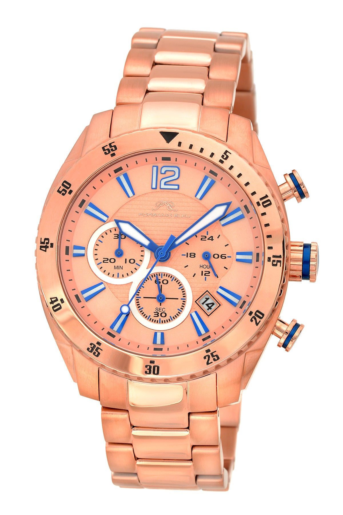 Porsamo Bleu Taylor luxury chronograph men's stainless steel watch, rose 621CTAS