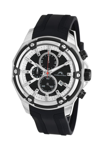 Porsamo Bleu Stavros luxury chronograph men's watch, silicone strap, silver, black 482BSTR
