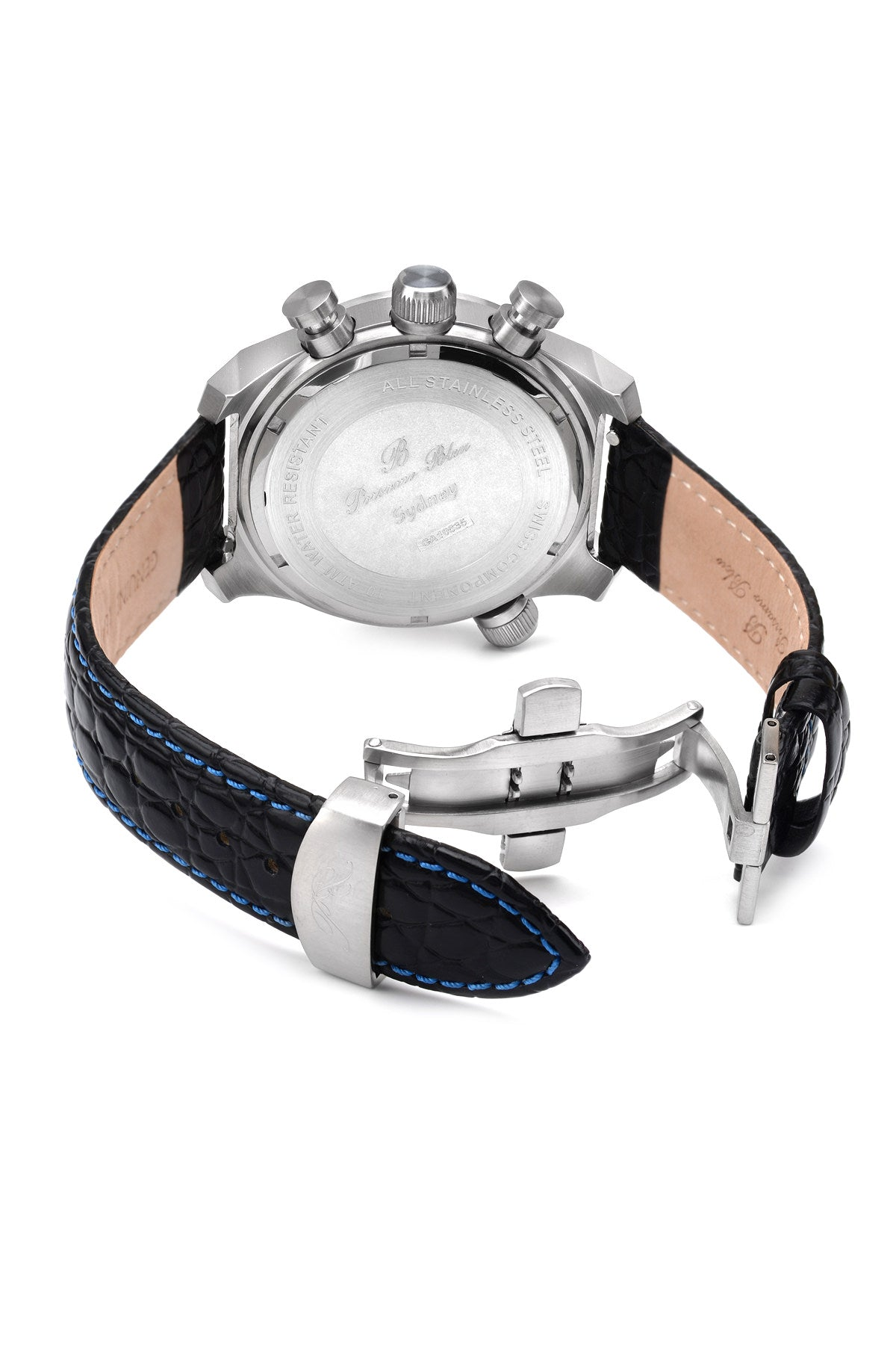 Porsamo Bleu Sydney luxury men's watch, genuine leather band, silver, black 162ASYL