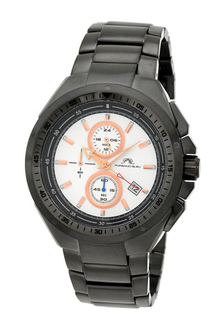 Porsamo Bleu Damien luxury chronograph men's stainless steel watch, gunmetal 311EDAS