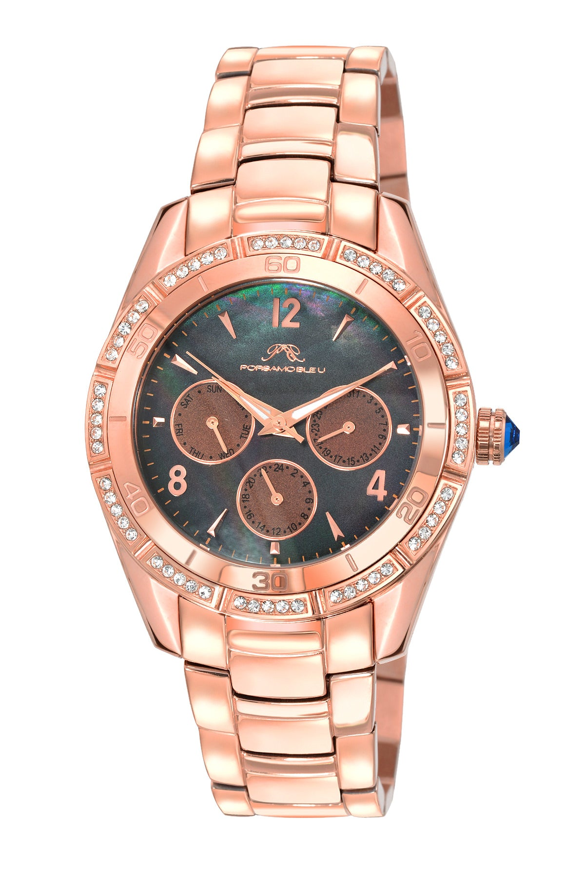 Porsamo Bleu Valentina luxury women's stainless steel watch, rose, black 542CVAS