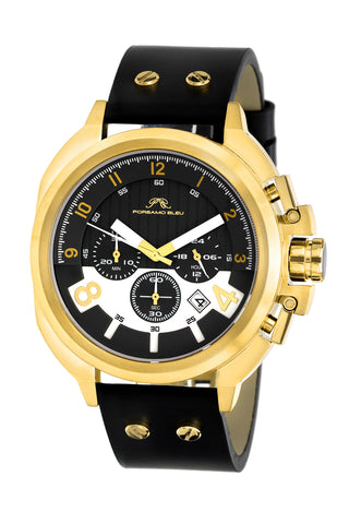 Porsamo Bleu Connor luxury chronograph men's watch, genuine leather band, gold, black 422BCOL