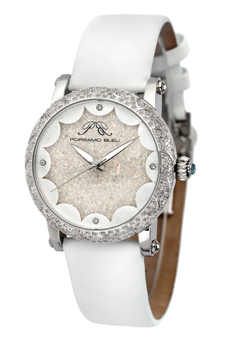 Porsamo Bleu Genevieve luxury topaz women's watch, satin leather watch, silver, white 681AGEL