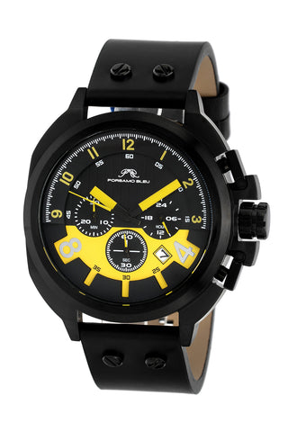 Porsamo Bleu Connor luxury chronograph men's watch, genuine leather band, black, yellow 421CCOL